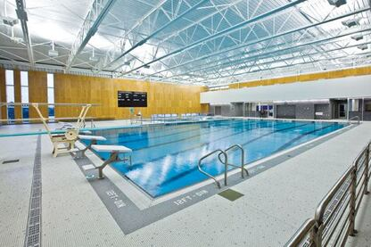 The natatorium was built to replace an existing pool. Opened in 2009, it is a resource for local students as well as the growing community. Located on the grounds behind Kodiak Island Borough High School, the pool area features 17,000 square feet of space, including locker rooms.
