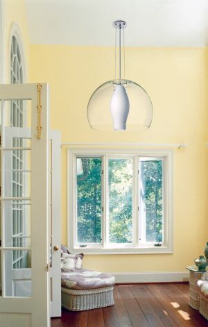besa the bunch Besa Lighting's Mondo cable pendant features a classic dome profile spanning either 20 inches or 24 inches to illuminate spaces with tall ceilings. Three wire cables adjust up to 15 feet in length and support the clear glass shade. Wired fo
