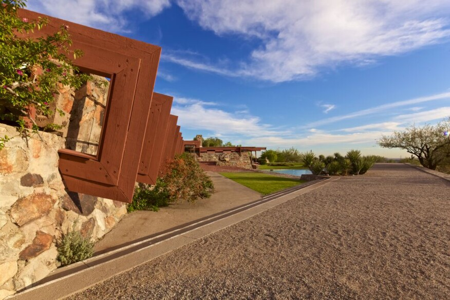 View of Taliesin West entrance from the west