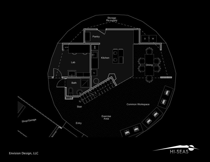 First floor, HI-SEAS dome habitat