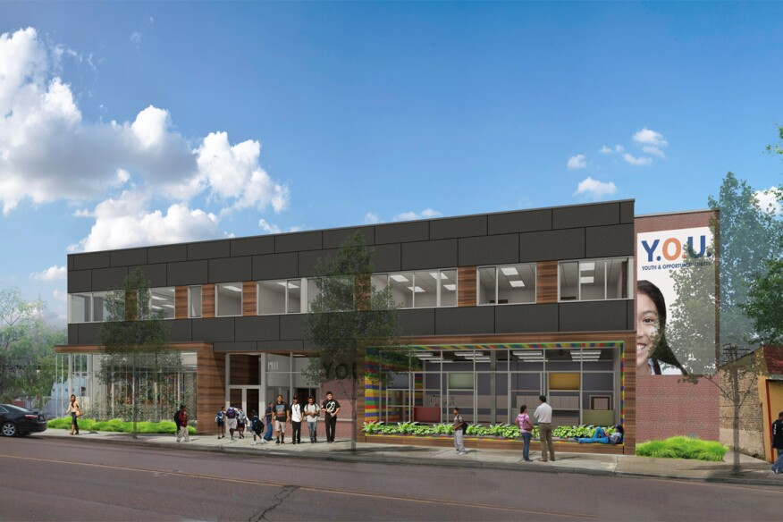 A static rendering of the proposed Youth & Opportunity United Headquarters.
