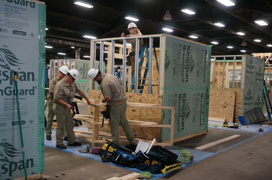 "One part of the annual SkillsUSA program is the Teamwork competition. Teams of four people work to construct a ""house"" over two days. Teams are evaluated on their building skills, as well as safety practices."