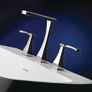 Hastings Tile & Bath. The Chelsea H125 faucet offers a WaterSense-certified flow rate of 1.5 gpm. The unit combines a curvaceous, hourglass-like shape with square corners and a slender spout. It comes in 35 finishes. 516.379.3500. www.hastingstilebath.com.