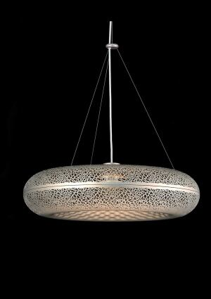 Designed by sculptor Ross Lovegrove, the Aeros Pendant is light in appearance and weight, with a reflector that draws organic inspiration from the structure of bone tissue. The fixture is made of titanium-colored anodized aluminum and measures 28 ½ inches in diameter and height. It's available with 39-watt ceramic metal halide or 75-watt halogen light sources. Louis Poulsen Lighting, 954.349.2525; www.louispoulsen.com