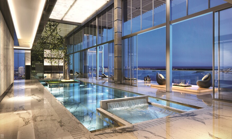 penthouse pool, luxury amenities, high-end condo