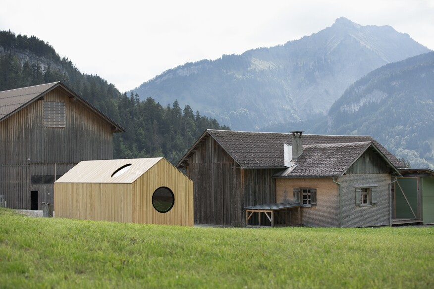 Commissioned by Bezau, Austria–based timber home builder Kaspar Greber, Pavilion KG showcases the potential and craft of the company's products in a demonstration hut that allows visitors—namely, prospective clients—to experience the touch, smell, and ambience of wood construction firsthand.