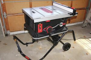 Though the JSS-MCA jobsite table saw from SawStop is compact, the table can be extended to a full 25 1/2-inch rip capacity.