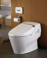TOTO's Neorest tankless toilet has a second flushing mode that saves water.