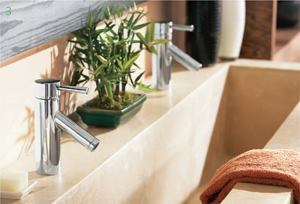 Level Collection    Moenmoen.com  Offered in chrome and brushed nickel 8-inch-tall widespread faucets, three- or four-hole Roman tub faucets, and a shower package    All available with MPACT valve system, allowing installation without changing existing faucet plumbing    Showerhead features 4-inch spray face    Handshower has sliding bar
