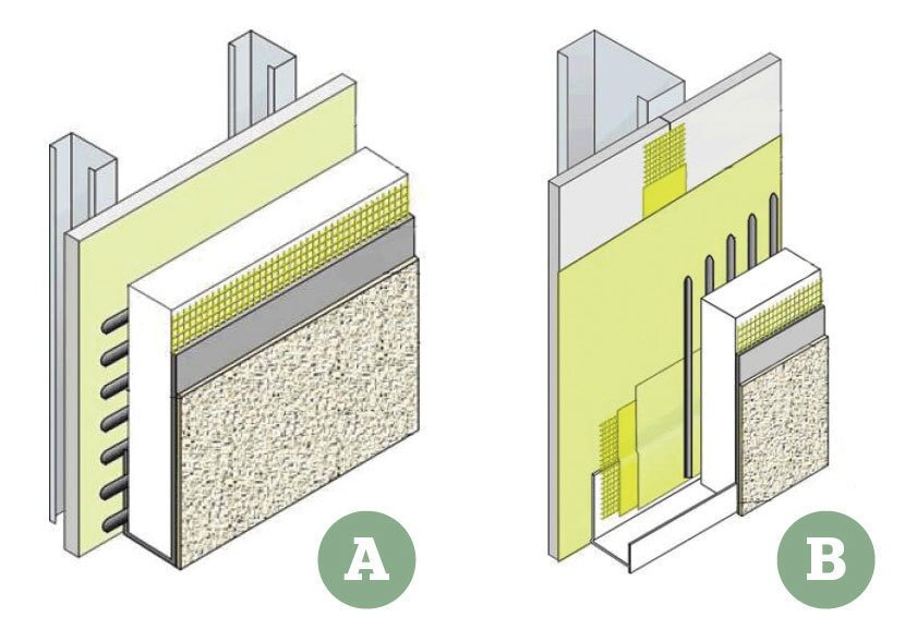 A: Traditional EIFS: With no drainage capabilities, old EIFS systems had a tendency to harbor moisture, leading to a range of water-related problems.  B: Next-Generation EIFS: Depending on the manufacturer, new EIFS use a range of moisture managers, such as vertical adhesive bands, water-resistant barriers, and fluid-applied membranes.
