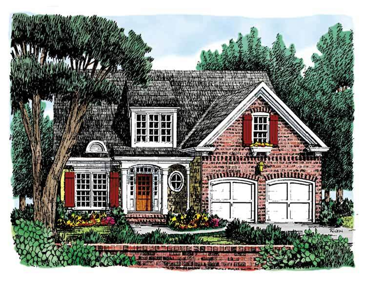 """With dimensions of 41' x 48'4"""", this master-on-main plan fits a small lot. See more images, information, and the floor plan."""