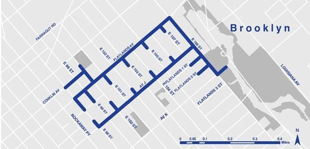 Map of the construction taking place to improve infrastructure near Fresh Creek in Canarsie.