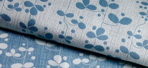 Enchantment privacy- curtain fabric  KnollTextiles  knoll.com  - Intended for medical cubicles    - Modern floral pattern on double-cloth construction    - Available in 14 colorways    - Made of Trevira CS polyester    - 71 inches wide    - Repeats 8 inches horizontally, 13½ inches vertically