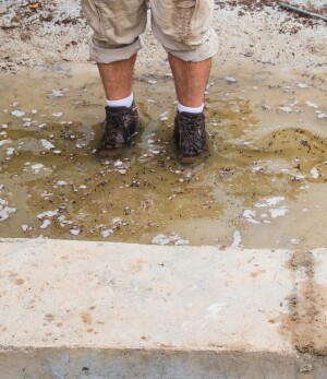 A Gore-Tex liner prevents the boots from leaking. The author stood in this puddle for five minutes and his feet remained dry.