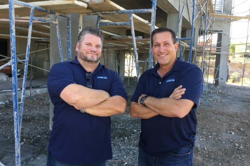 Jim Bellamy (left) and Mike Baldasare star in 'Pool Kings' on the DIY Network. The premier episode airs Monday, May 30 at 9 p.m. EST. (Times are subject to change. Check local listings.)