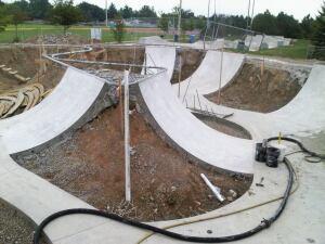A skatepark takes shape.