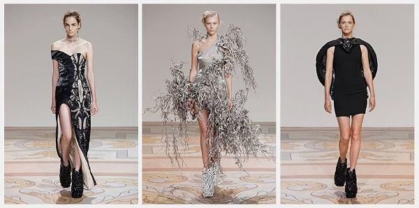 Models demonstrating Jolan van der Wiel's magnetically grown dresses and Iris van Herpen's 3D-printed shoes.