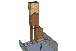The project involved removing the base of a brick chimney to make way for a basement media room and wine cellar. The engineer's plan called for supporting the remain section of the chimney above the first floor using structural steel.