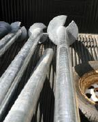 Figure 1. Helical piles are screw-shaped plates welded to a steel shaft. Various sizes are available for different soils and applications.