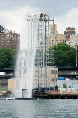 The waterfall installation at Brooklyn Piers 4 and 5.