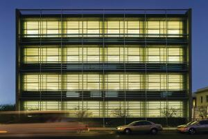 Glazing illuminates the building's internal functions to engage the surrounding urban environment. The open west-facing laboratories may seem like an unusual choice in the sunny region, but a self-shading façade helps regulate heat and daylight.
