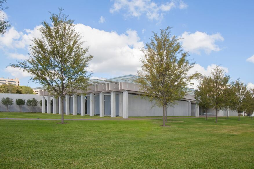 The new pavilion at the Kimbell Art Museum, viewed from the southeast. Photographed September 2013.