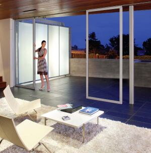 NanaWallnanawall.com  Individual-panel sliding glass door system with no floor track - Same wind load and security features as a model with the track - Can open three walls of a 35-foot-square room - Adjustable floor sockets for securing the doors - The panels recess into a bay on one end of the installation - Swing doors allow for access without opening the entire wall - Not for use where watertightness is a concern