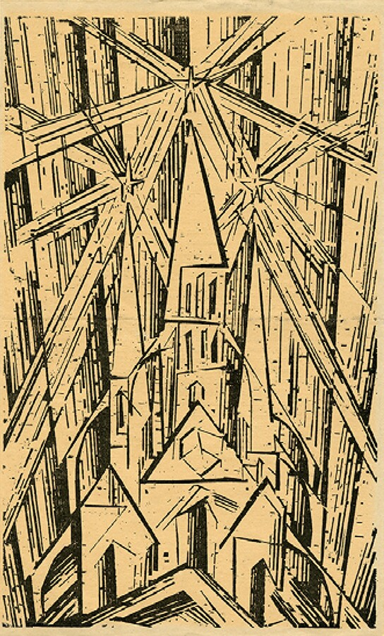 A woodcut of a cathedral by Lyonel Feininger, which Gropius used as the cover for his Bauhaus manifesto in 1919