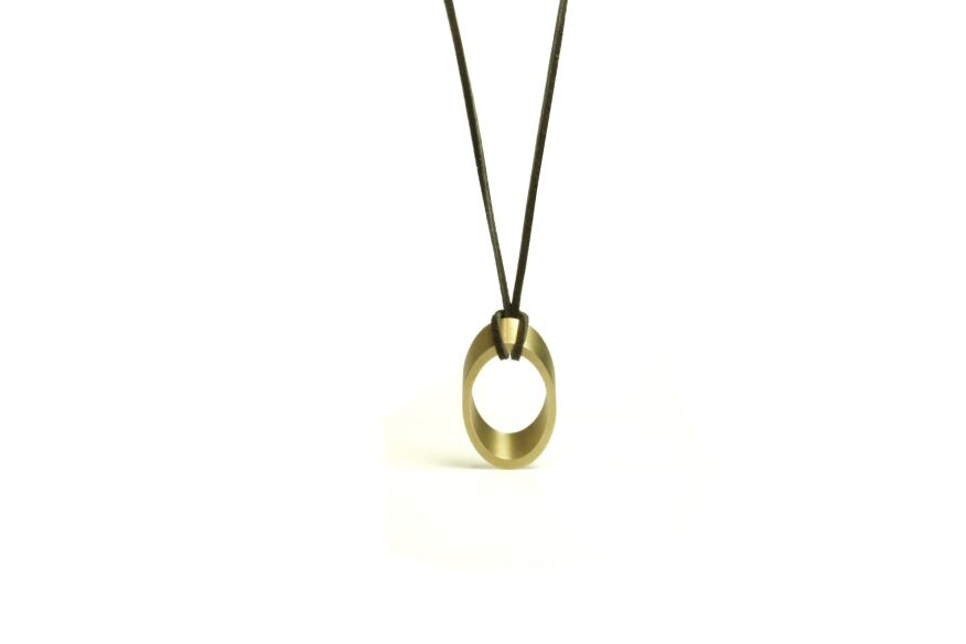 Elliptical pendant, natural finish, Marmol Radziner Jewelry.