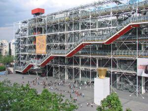 The west façade of theCentre Culturel d'Art Georges Pompidou in Paris.