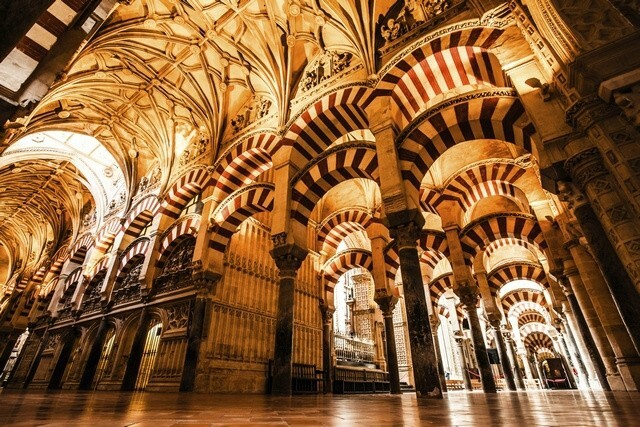The hybrid Hispano-Moresque cathedral in Córdoba, Spain, is a converted eighth- to 10th-century mosque built on the site of an even earlier Visigothic church.