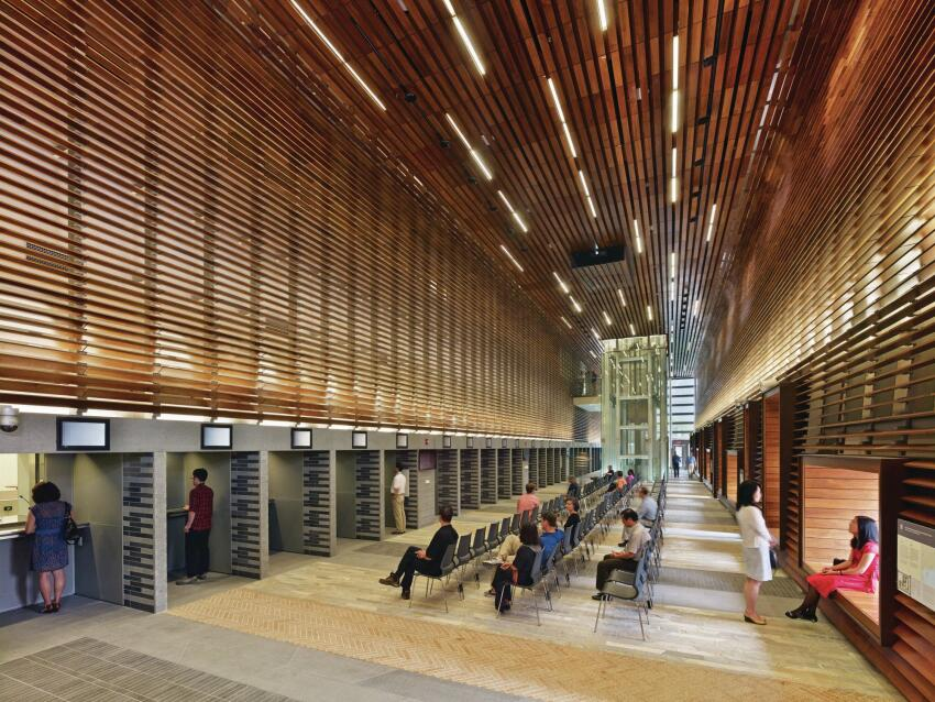 """The jurors also expressed their admiration for the building's """"softening-edge component,"""" the extensive use of wood and joinery that frame many of its interiors."""