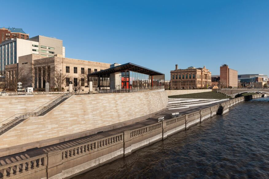 Principal Riverwalk Pavilion & Pump Station, Des Moines, Iowa, by Substance Architecture.