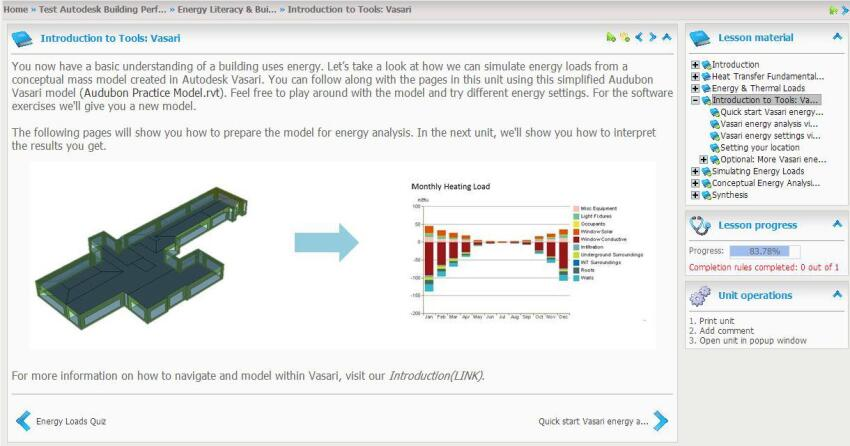 Screenshot from Autodesk's BPAC tutorial that introduces Vasari as a tool for evaluating energy loads