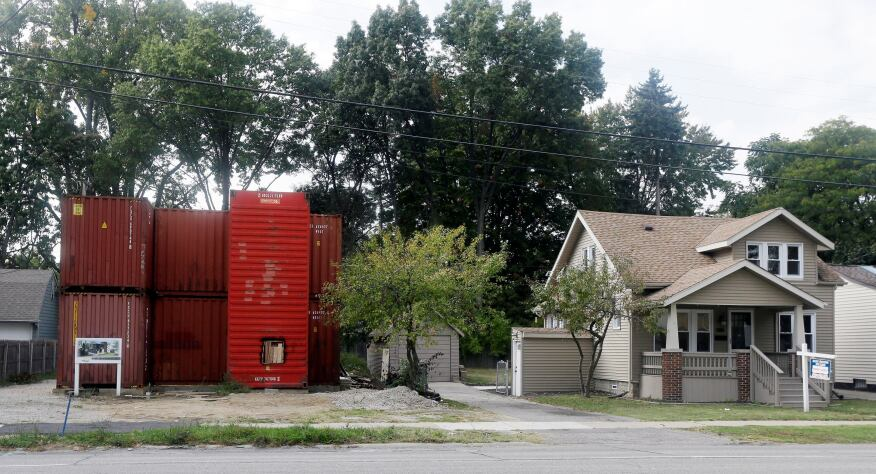 A three-bedroom shipping container house under construction in Royal Oak, Mich.