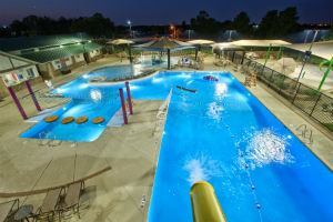 Operators say renting facilities to private parties after hours can be a significant source of revenue. Just be sure the facility has an adequate lighting scheme, like the Dove Waterpark in Grapevine, Texas, seen here.