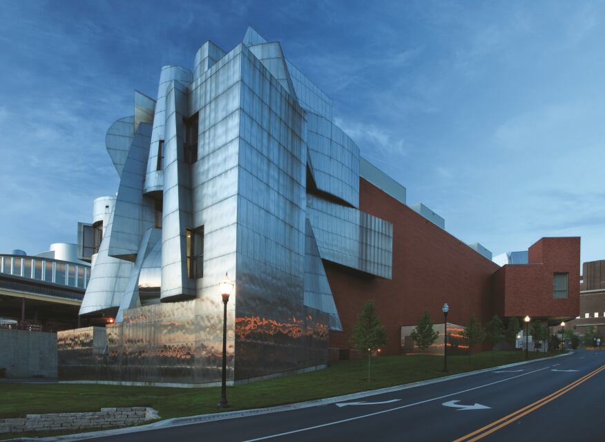The Weisman Art Museum at the University of Minnesota, showing the original 1993 façade and the 2011 addition, both designed by Frank Gehry.