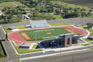 The Mercedes High School athletic stadium in Texas required an unusually tall 71-foot wall.