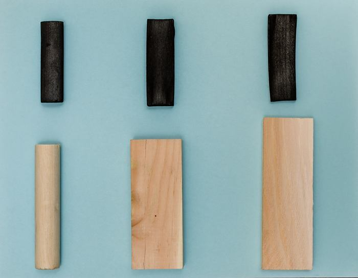 Examples of wood turned into biochar, a surrogate material for costly supercapacitors.