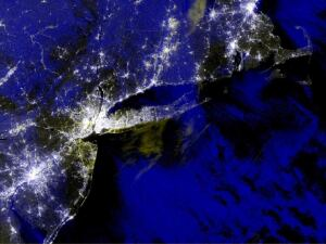 The South Shore of Long Island is dark in this NASA image showing blackouts in the New York region immediately after Hurricane Sandy. Two weeks later, 70,000 Long Island customers still lack power, and about half of those can't be connected until after damage to panels and wiring is inspected and repaired.