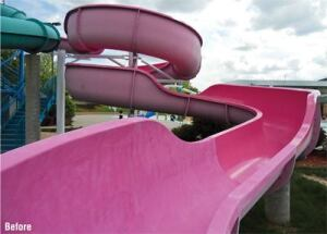 The 2011 slide restoration project at Farmington Water Park in  Farmington, Mo., included custom-matching the bright pink  color.