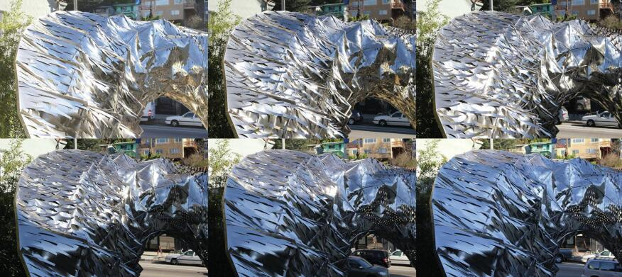 Time-lapsed imagery of the Bloom pavilion's therombimetal panels.