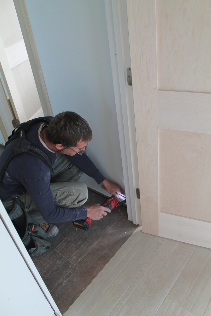 When the jamb is secured, go back and cut the shims with a utility knife or a multi-tool.