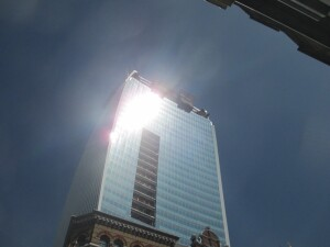 Reflected sunlight from the Walkie Talkie, the 2015 Carbuncle Cup winner (shown here under construction), allegedly melted a Jaguar parked nearby.