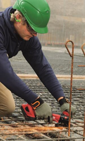 Cordless Angel Grinder cutting Rebar
