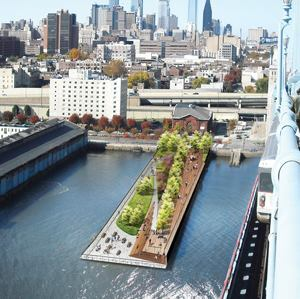 Race Street Pier's upper level will feature a promenade with the lower level providing recreational and social space. One of the last phases will involve planting 37 fully grown trees. Image: James Corner Field Operations