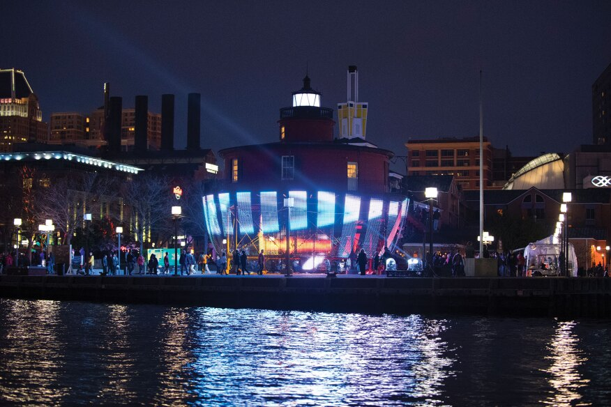 """Lightwave: Baltimore's Beacon"" was a feature installation at Light City 2016."