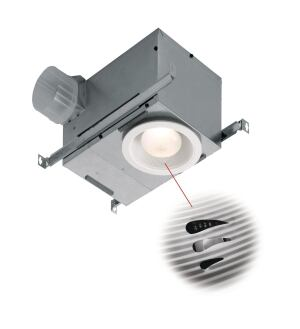 BroanNuTone. The companys recessed fanlights now include a sensor that turns the fan on when it senses a quick rise in humidity then turns it off automatically. The Energy Starrated unit looks like a traditional recessed light but contains a concealed 70cfm ventilation fan that operates at 1.5 sones. The auto shutoff feature is adjustable from five to 60 minutes or can be operated manually. The fan is ULlisted for use over the tub or shower. 800.558.1711.  www.broan.com.