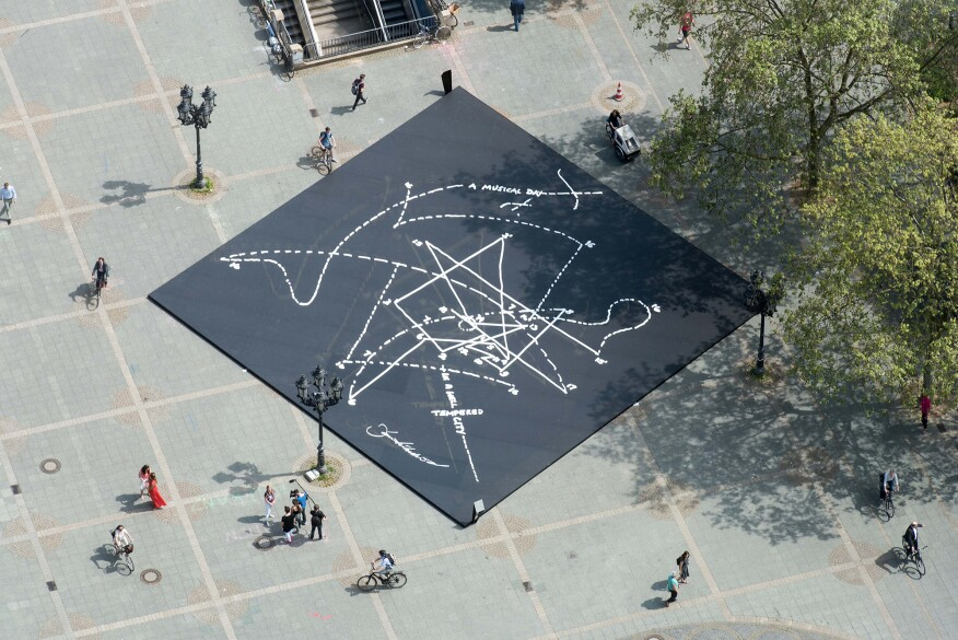 "Libeskind's ""Musical Labyrinth"" installation, which was displayed in the Alter Oper courtyard as part of the concert series"