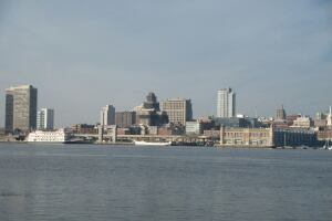 A view of the waterfront in Camden, N.J.
